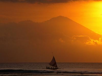 Boat Sailing Past Mt. Agung Across Lombok Strait Gunung Agung, Bali, Indonesia-John Borthwick-Photographic Print
