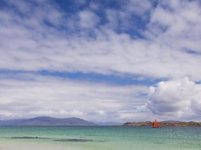 Boat with Red Sails Off Traigh Bhan Beach, Iona, Sound of Iona, Scotland, United Kingdom, Europe-Neale Clarke-Photographic Print