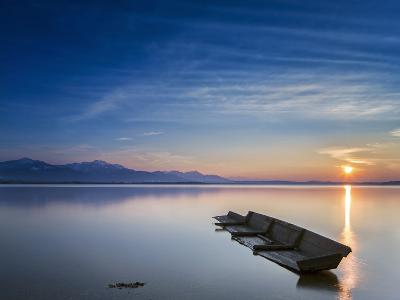 Boat Wreck in the Afterglow at Chiemsee, Bavaria, Germany, Europe-Dieter Meyrl-Photographic Print