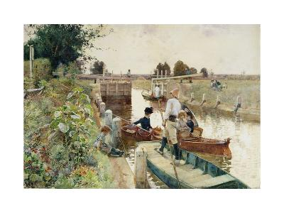 Boaters in a Lock on the Thames-Hector Caffieri-Giclee Print