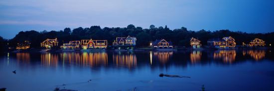 Boathouse Row Lit Up at Dusk, Philadelphia, Pennsylvania, USA--Photographic Print