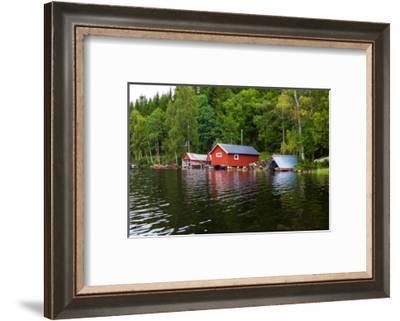 Boathouses, Gustavsfors, Lelång Lake, Dalsland, Sweden-Andrea Lang-Framed Photographic Print