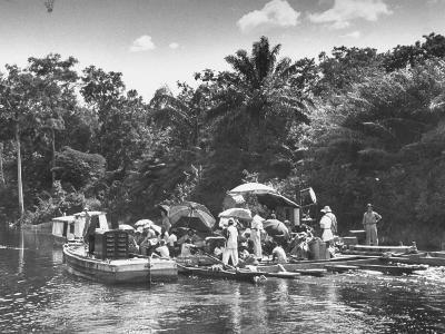 "Boating Floating on the River Where the Shooting of the Movie ""The African Queen"" Is Taking Place--Photographic Print"