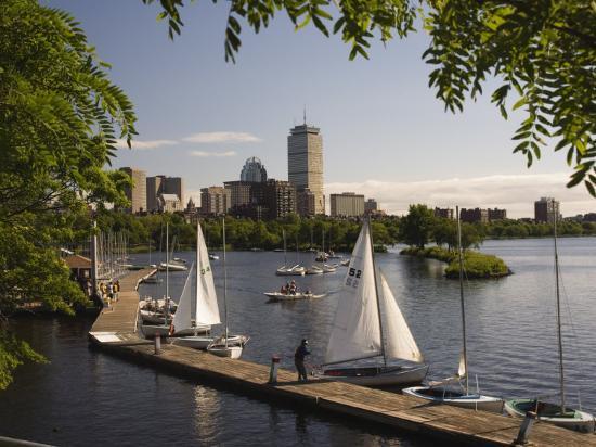Boating on the Charles River, Boston, Massachusetts, New England, USA-Amanda Hall-Photographic Print