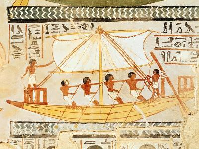 Boatmen on the Nile, from the Tomb of Sennefer, New Kingdom (Mural)--Giclee Print
