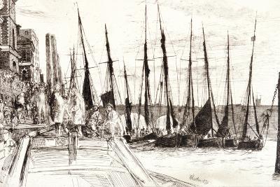 Boats Alongside Billingsgate, London, 1859-James Abbott McNeill Whistler-Giclee Print