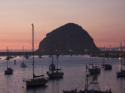 Boats Anchored at Sunset Near Morro Rock-Marc Moritsch-Photographic Print
