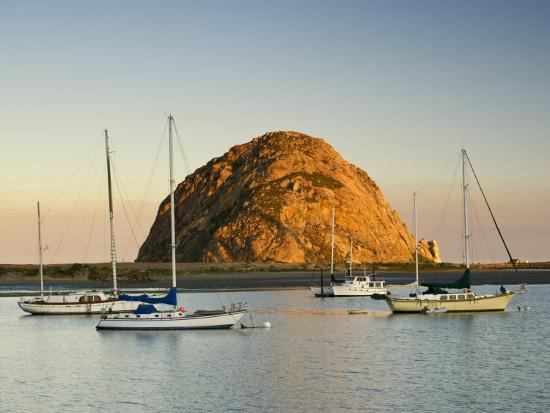 Boats Anchored Near Morro Rock at Sunrise, Seen from Embarcadero Waterfront Boulevard-Witold Skrypczak-Photographic Print