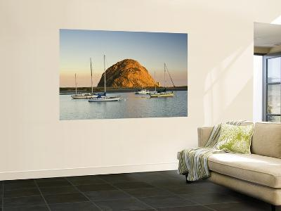 Boats Anchored Near Morro Rock at Sunrise, Seen from Embarcadero Waterfront Boulevard-Witold Skrypczak-Wall Mural
