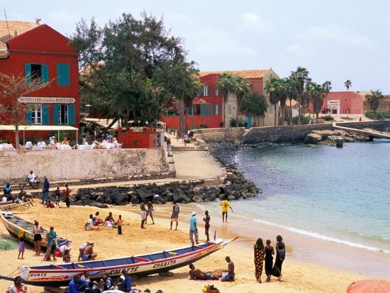 Boats and Beachgoers on the Beaches of Dakar, Senegal-Janis Miglavs-Photographic Print