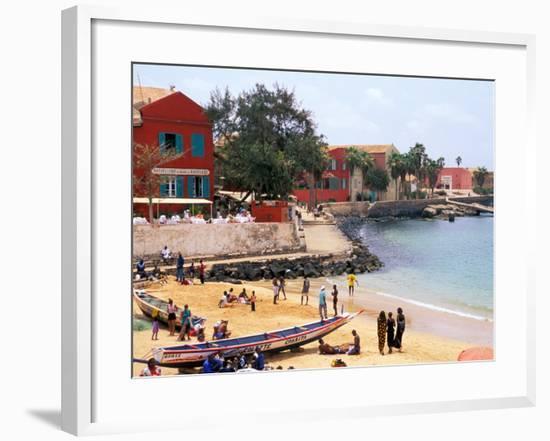 Boats and Beachgoers on the Beaches of Dakar, Senegal-Janis Miglavs-Framed Photographic Print