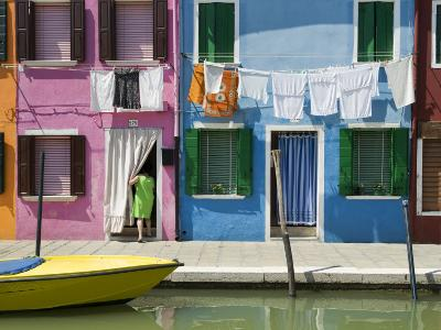 Boats and Colourful Houses Along Canal-Rachel Lewis-Photographic Print