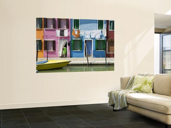 Boats and Colourful Houses Along Canal-Rachel Lewis-Wall Mural