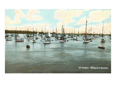 Boats at Anchor, Newport Harbor, Rhode Island--Art Print