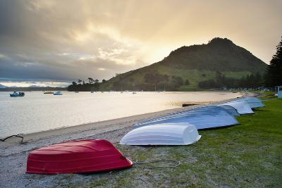 Boats at Mount Maunganui at Sunset, Tauranga, North Island, New Zealand, Pacific-Matthew Williams-Ellis-Photographic Print