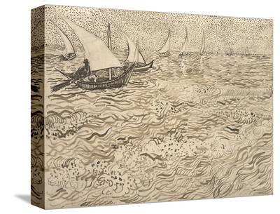 Boats at Saintes-Maries, 1888-Vincent van Gogh-Stretched Canvas Print