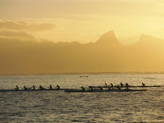 Boats at Sea, French Polynesia-Sylvain Grandadam-Photographic Print