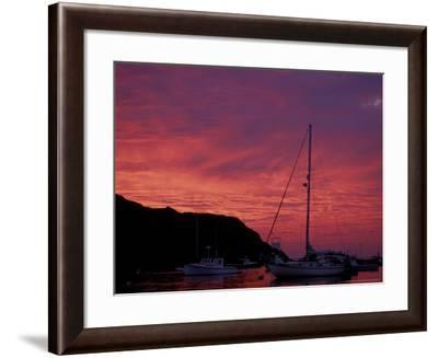 Boats at Sunset in Monhegan Harbor, Maine, USA-Jerry & Marcy Monkman-Framed Photographic Print