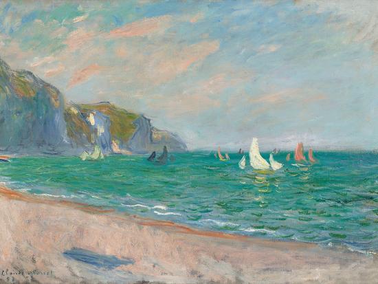 Boats Below the Pourville Cliffs; Bateaux Devant Les Falaises De Pourville, 1882-Claude Monet-Premium Giclee Print