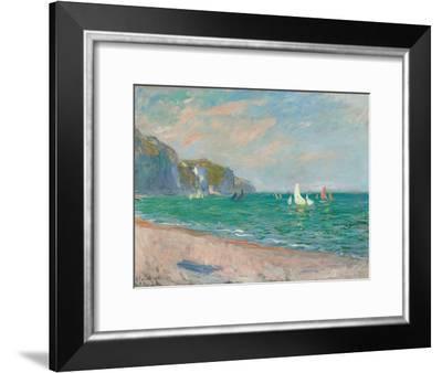 Boats Below the Pourville Cliffs; Bateaux Devant Les Falaises De Pourville, 1882-Claude Monet-Framed Giclee Print