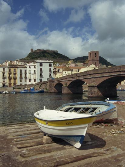 Boats Beside a Bridge over the Temo River at Bosa on the Island of Sardinia, Italy, Europe-Terry Sheila-Photographic Print