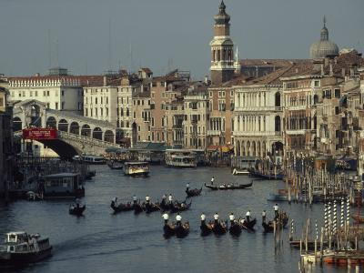 Boats Crowd the Grand Canal of Venice, Italy-James L^ Stanfield-Photographic Print