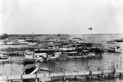 Boats Crowd the Piers Along the Miami Waterfront--Photographic Print