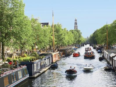Boats Cruise Along a Canal with the Zuiderkerk Bell-Tower in the Background, Amsterdam, Netherlands-Miva Stock-Photographic Print