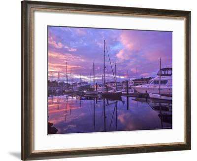 Boats Docked in Harbor at Sunset in Port Townsend, Washington, USA-Chuck Haney-Framed Photographic Print