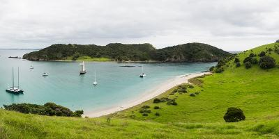 Boats Docked in Small Bay at Waewaetorea Island, Bay of Islands, Northland Region--Photographic Print