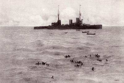 Boats from the British Battle Cruiser Inflexible Rescuing German Survivors from the Gneisenau--Giclee Print