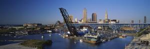 Boats in a River, Cleveland, Ohio, USA