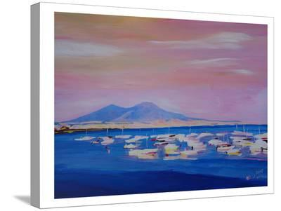 Boats In Gulf Of Naples Italy With Vesuvius-M Bleichner-Stretched Canvas Print