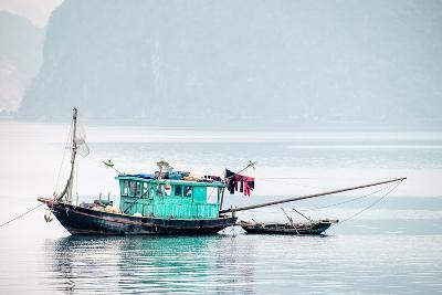 Boats in Ha Long Bay on a Foggy Morning, Quang Ninh Province, Vietnam, Indochina, Southeast Asia-Jason Langley-Photographic Print