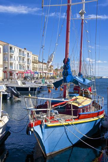 Boats in Harbor, Meze, Herault, Languedoc Roussillon Region, France, Europe-Guy Thouvenin-Photographic Print