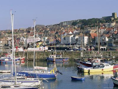 Boats in Harbour and Seafront, Scarborough, Yorkshire, England, United Kingdom-Robert Francis-Photographic Print
