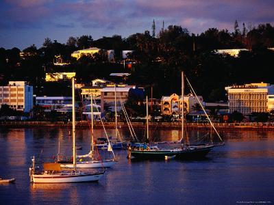 Boats in Harbour and Town Buildings, Port Vila, Vanuatu-Richard I'Anson-Photographic Print