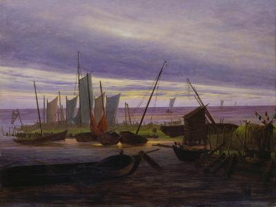 Boats in Harbour at Evening, 1828-Caspar David Friedrich-Giclee Print