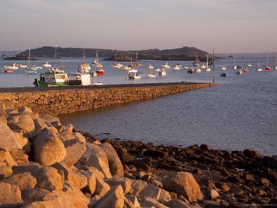 Boats in Harbour, Presquile Grande, Cote De Granit Rose, Cotes d'Armor, Brittany, France-David Hughes-Photographic Print