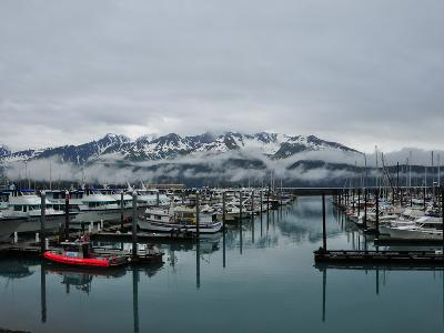 Boats in Marina with Snow Capped Mountains in the Background-Jorge Fajl-Photographic Print