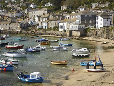 Boats in Mousehole Harbour, Near Penzance, Cornwall, England-David Wall-Photographic Print