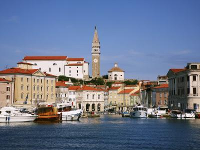 Boats in Piran Marina with Tartinijev Square-Ruth Eastham & Max Paoli-Photographic Print