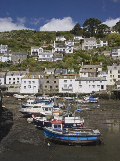 Boats in Polperro Harbour at Low Tide, Cornwall, England, United Kingdom, Europe-Hazel Stuart-Photographic Print