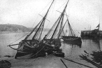 Boats in Tenby Harbour, Pembrokeshire, Wales, 1924-1926- Francis & Co Frith-Giclee Print