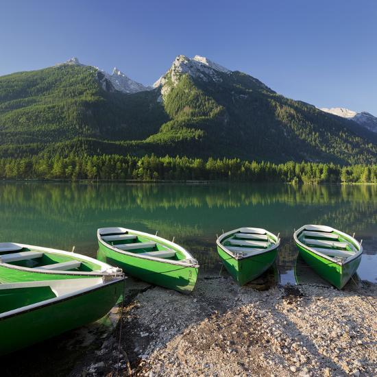 Boats in the Hintersee, Berchtesgadener Land District, Bavaria, Germany-Rainer Mirau-Photographic Print