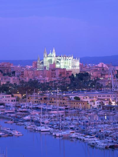Boats in the Marina at Dusk with the Cathedral of Palma, Majorca, Balearic Islands, Spain--Photographic Print