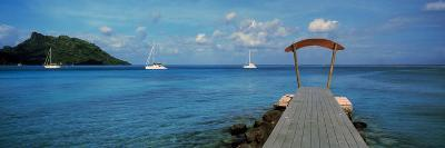 Boats in the Pacific Ocean, Tahiti, French Polynesia--Photographic Print