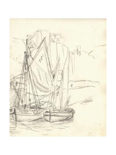 Boats in the Port at Honfleur (Pencil on Paper)-Claude Monet-Giclee Print