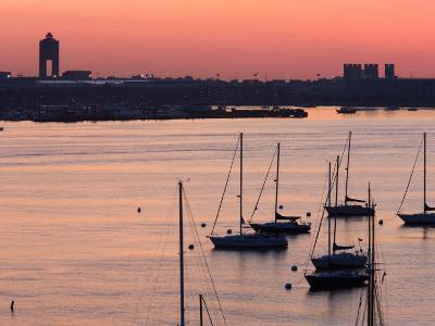 Boats in the Sea, Logan International Airport, Boston Harbor, Boston, Massachusetts, USA--Photographic Print