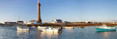 Boats in the Sea with a Lighthouse in the Background, Phare D'Eckmuhl, Penmarc'H, Finistere--Photographic Print